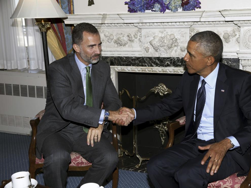 Encuentro entre Felipe VI y Obama.