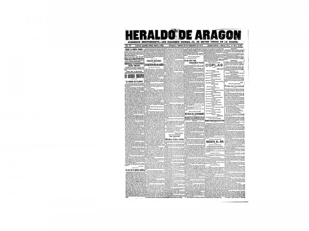 Portada de HERALDO el día 26 de septiembre de 1914