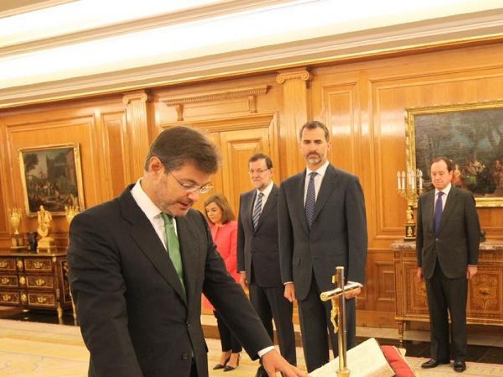 Momento del juramento del cargo del nuevo ministro de Justicia