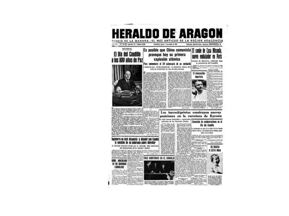 Portada de HERALDO el día 1 de septiembre de 1964