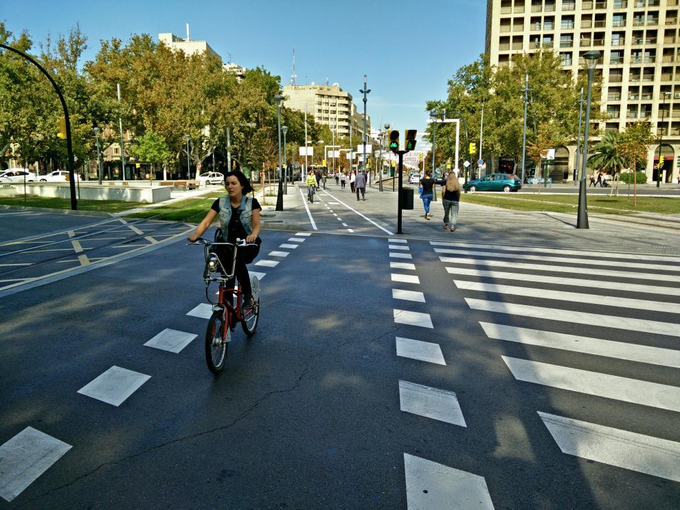 El nuevo carril bici de la plaza de Paraíso