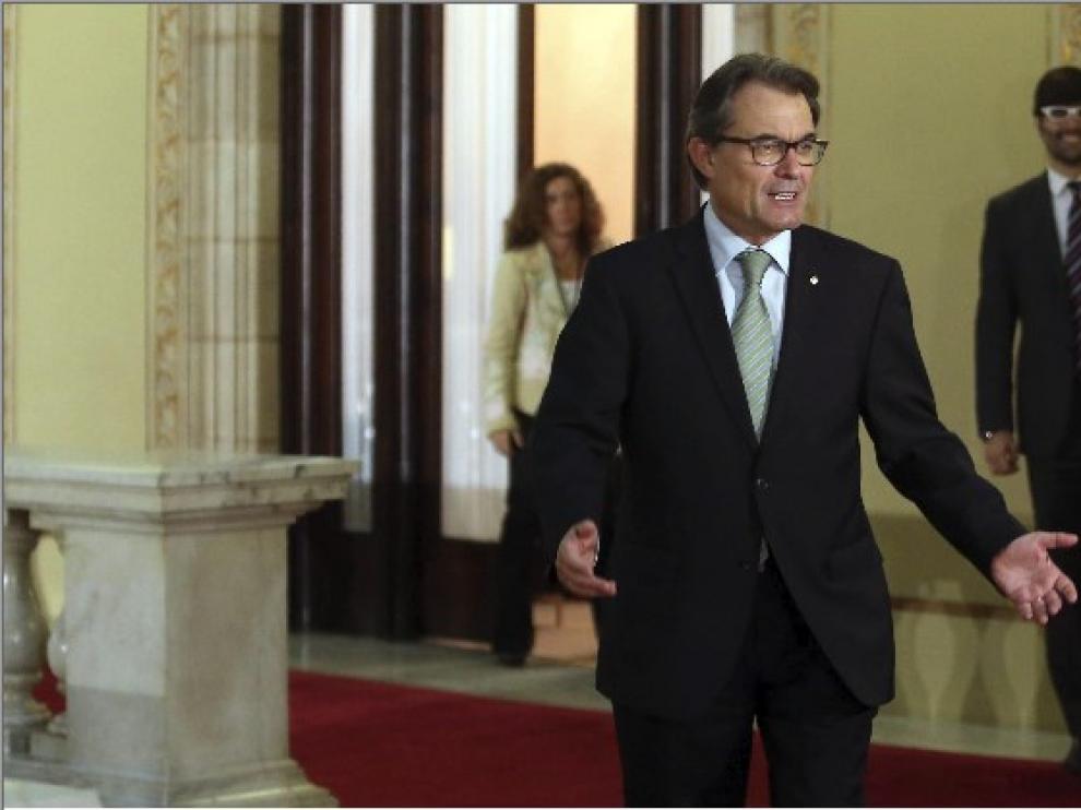 Artur Mas a la salida de su despacho en el Parlament