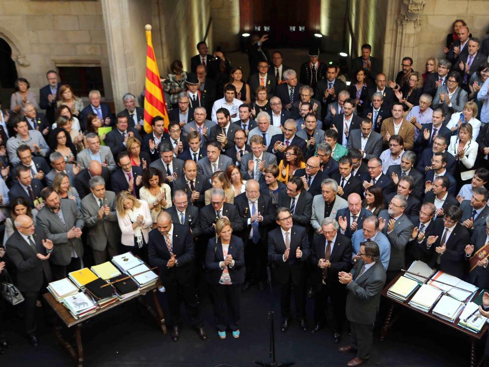Acto de Artur Mas con los alcaldes catalanes