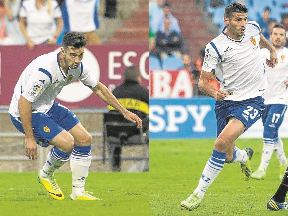 Javi Romero y Jaime Álamo durante su respectivo juego durante el partido.