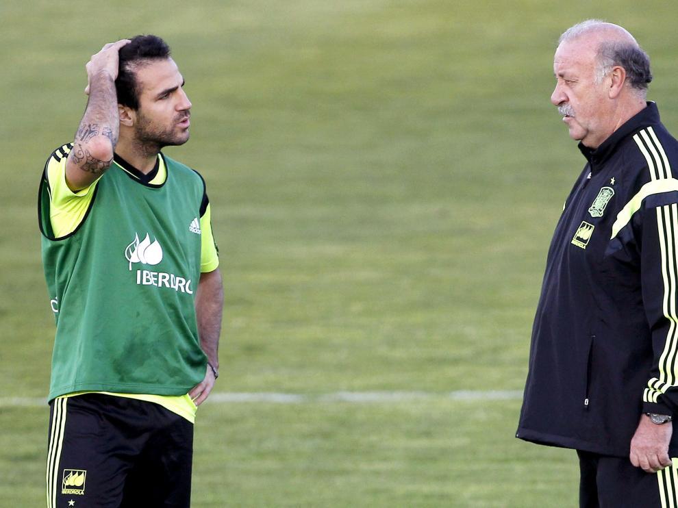 Del Bosque conversa junto a Fábregas