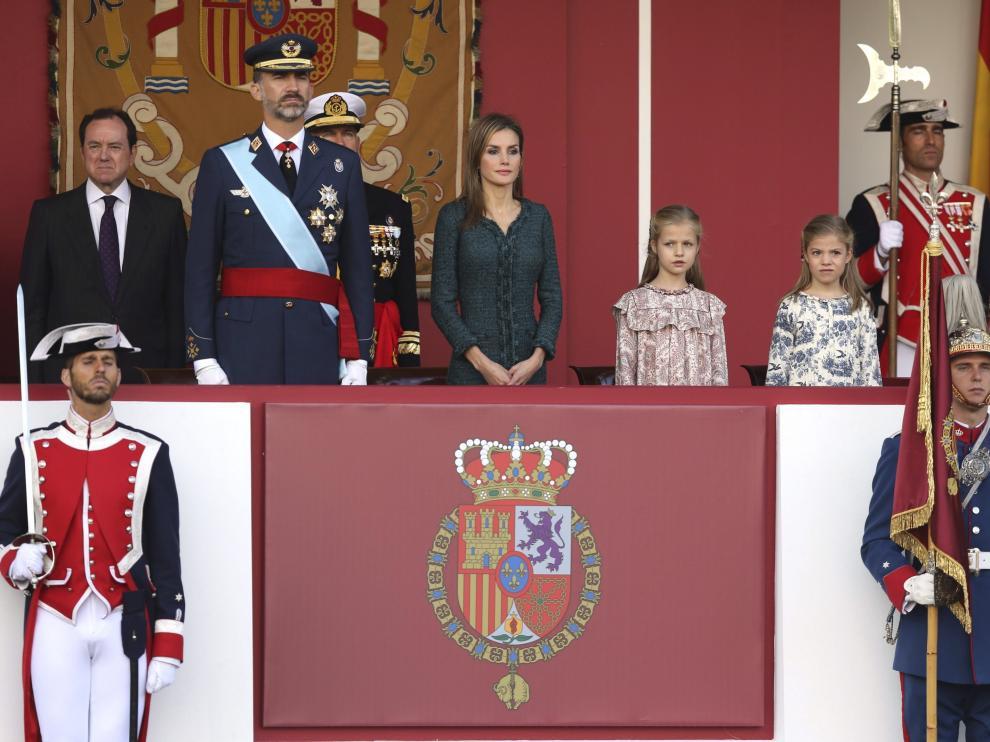 La Familia Real, en el desfile de la Fiesta Naciona del año pasado.
