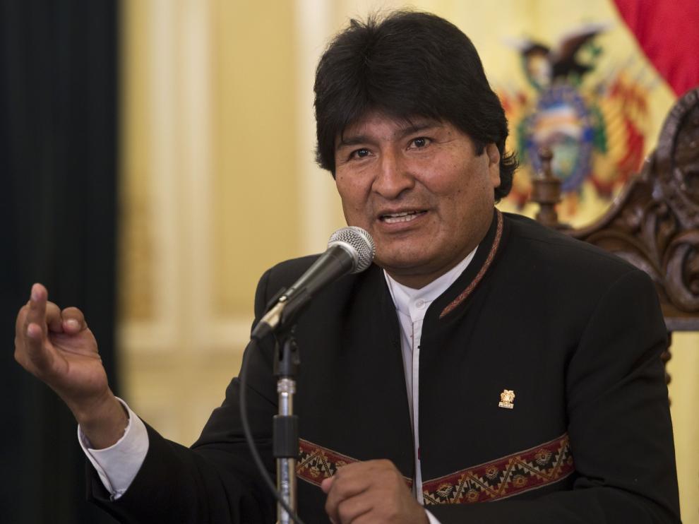 Morales durante una rueda de prensa en La Paz