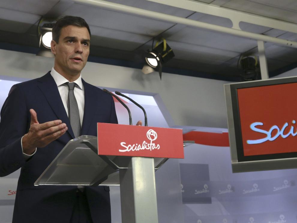 Pedro Sánchez, durante una comparecencia en Ferraz