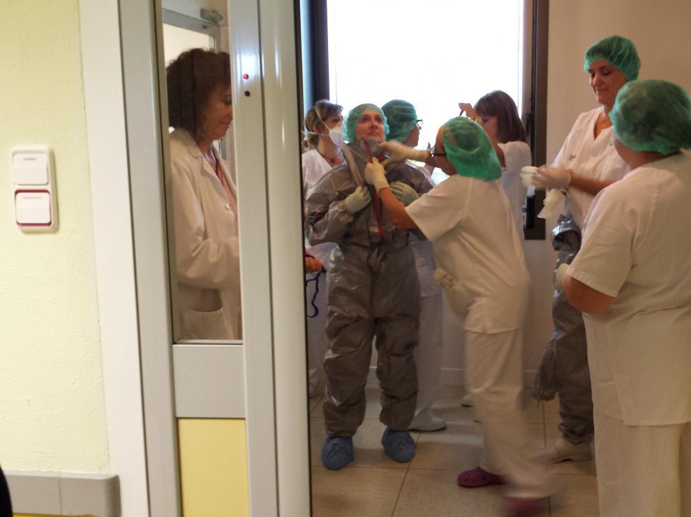 Clase de formación práctica en un hospital de Zaragoza.