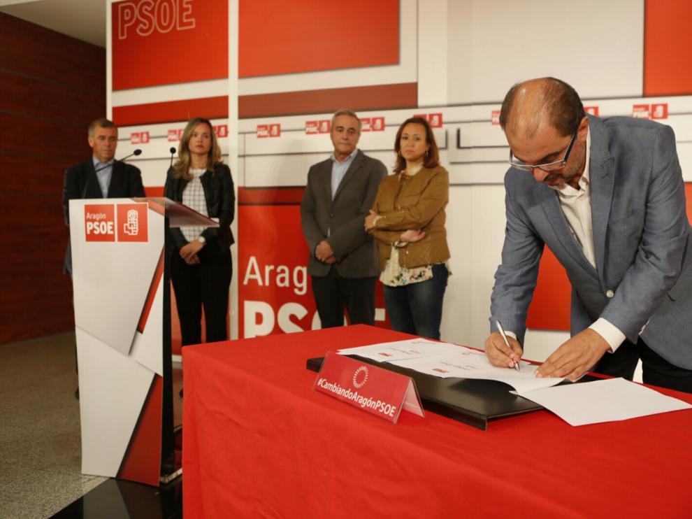 El secretario general del PSOE aragonés, Javier Lambán