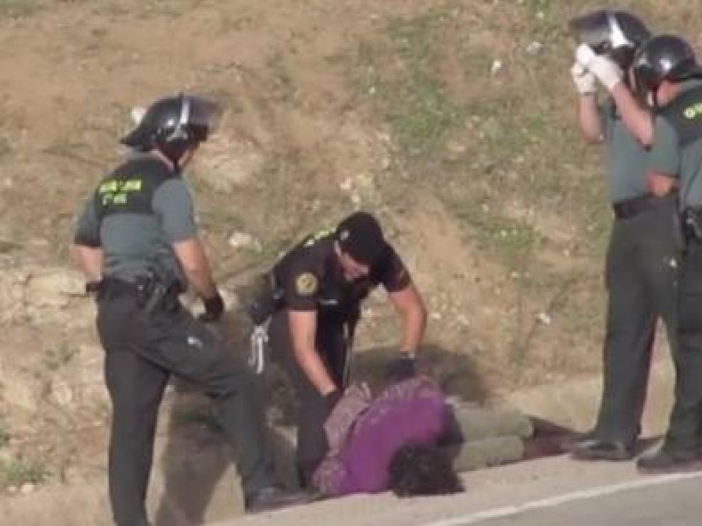 Imagen del video difundido por Prodein en la valla de Melilla