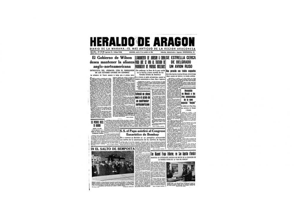 Portada de HERALDO el día 20 de octubre de 1964