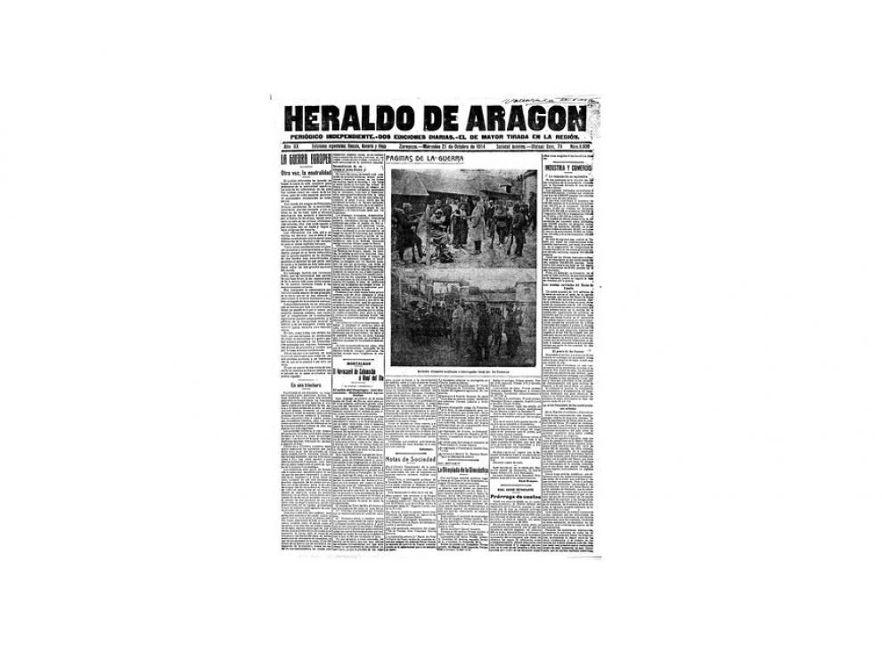 Portada de HERALDO el día 21 de octubre de 1914