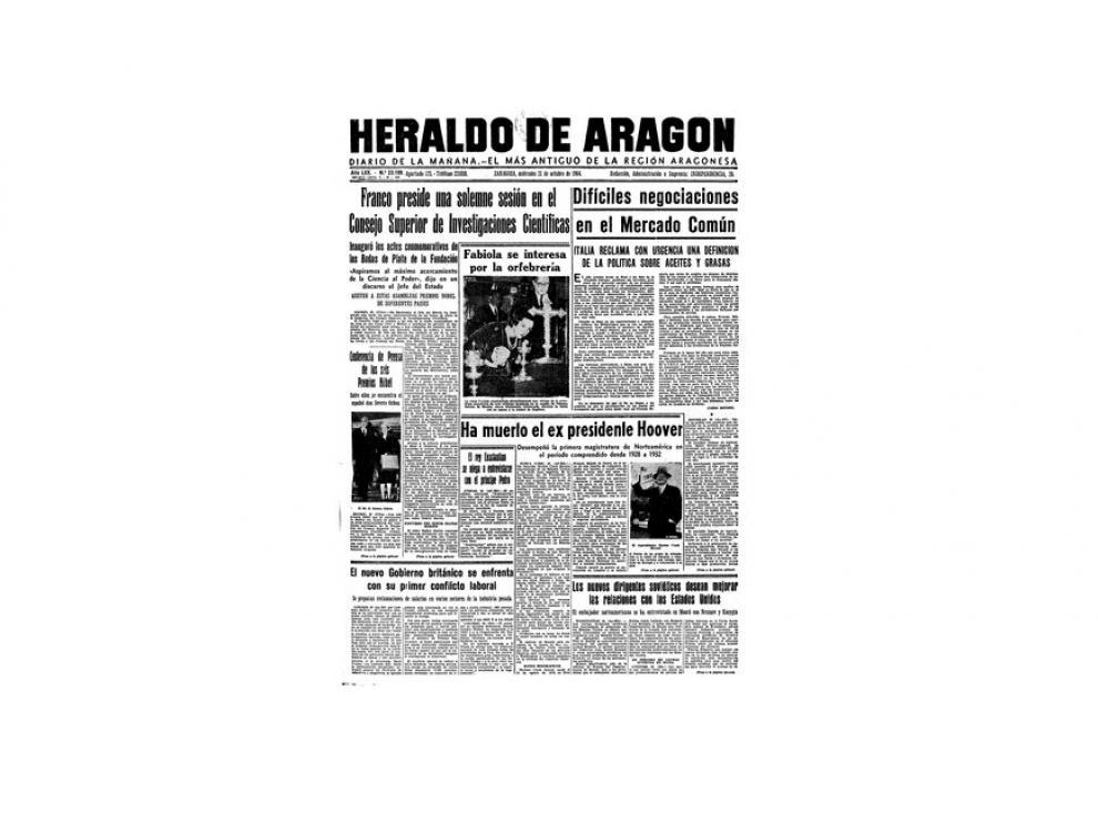 Portada de HERALDO el día 21 de octubre de 1964