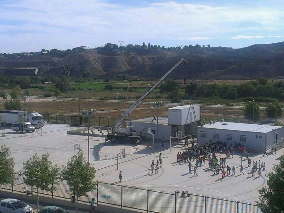 Instalación de barracones, este septiembre en el colegio Foro Romano