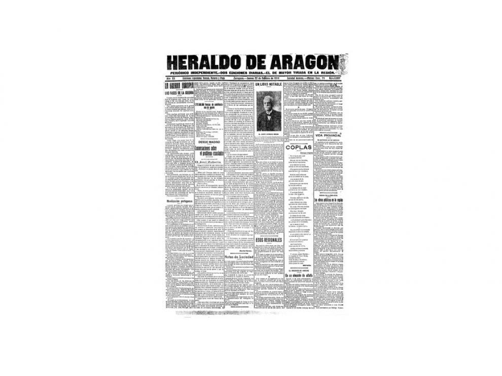 Portada de HERALDO el día 22 de octubre de 1914