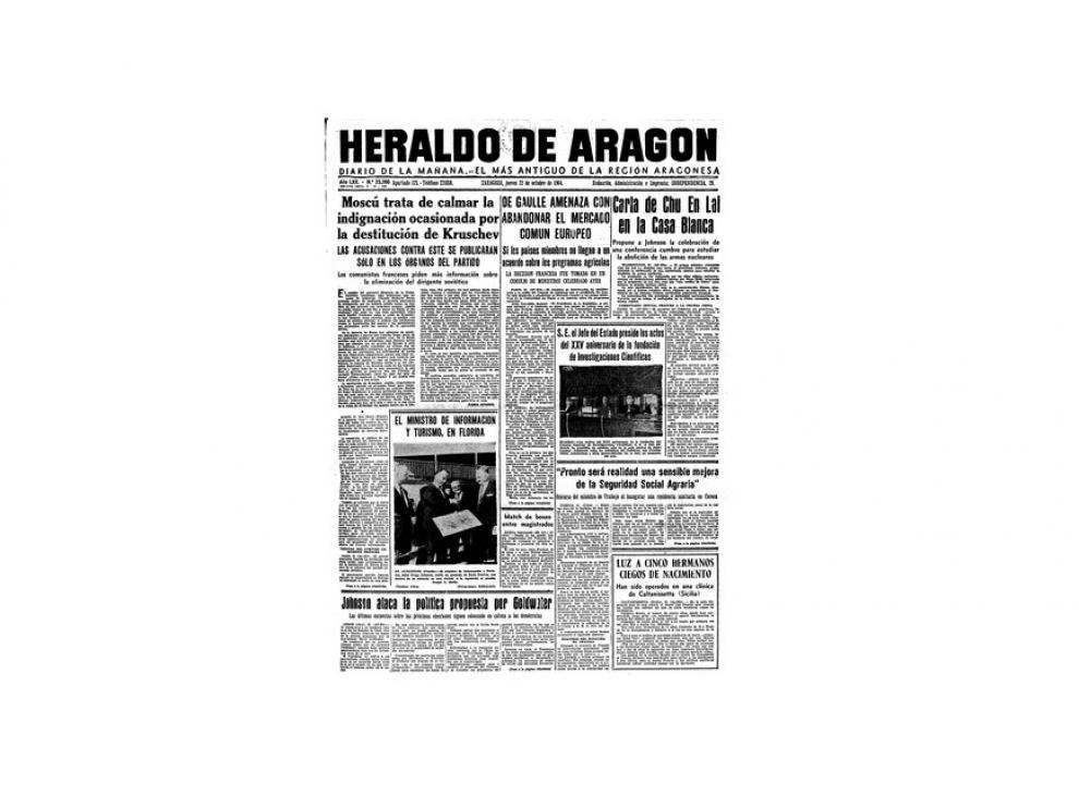 Portada de HERALDO el día 22 de octubre de 1964