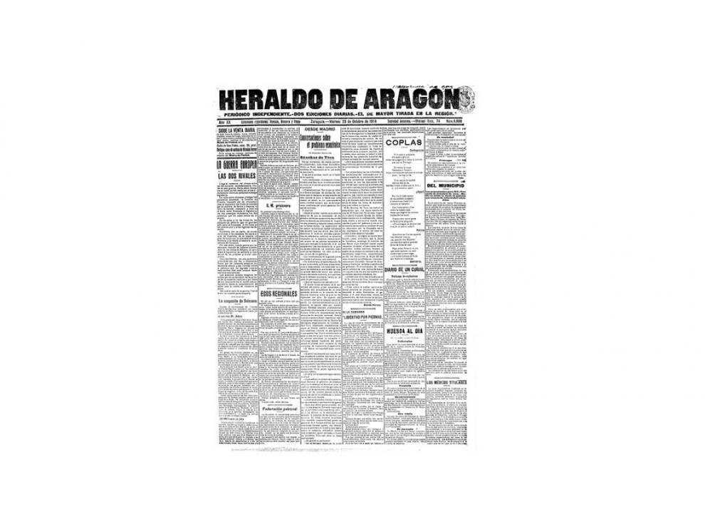 Portada de HERALDO el día 23 de octubre de 1914