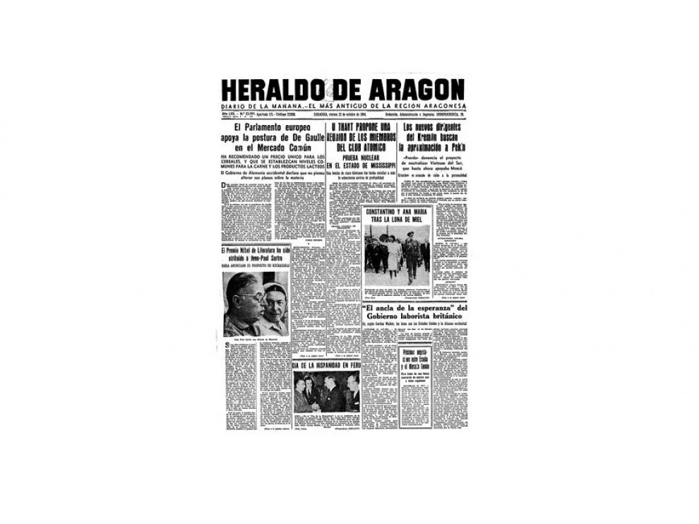 Portada de HERALDO el día 23 de octubre de 1964