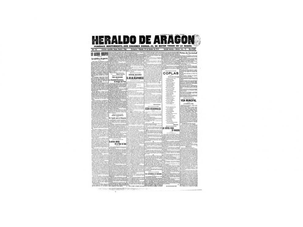 Portada de HERALDO el día 24 de octubre de 1914