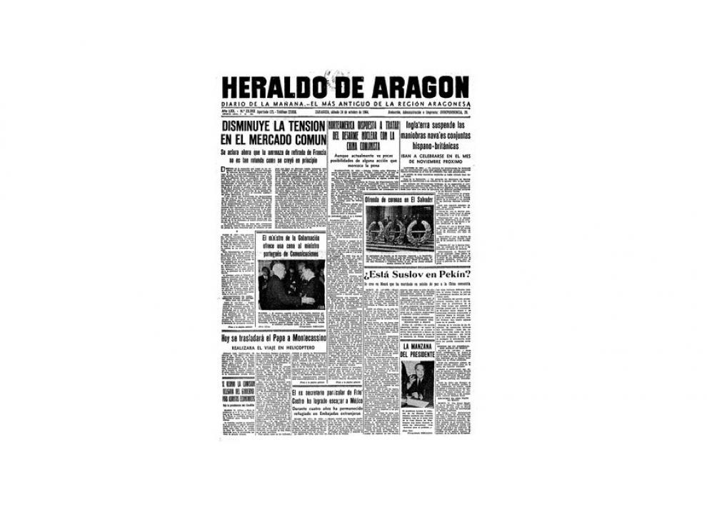 Portada de HERALDO el día 24 de octubre de 1964