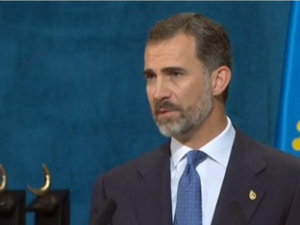 El Rey Felipe VI durante la ceremonia de entrega de los Premios