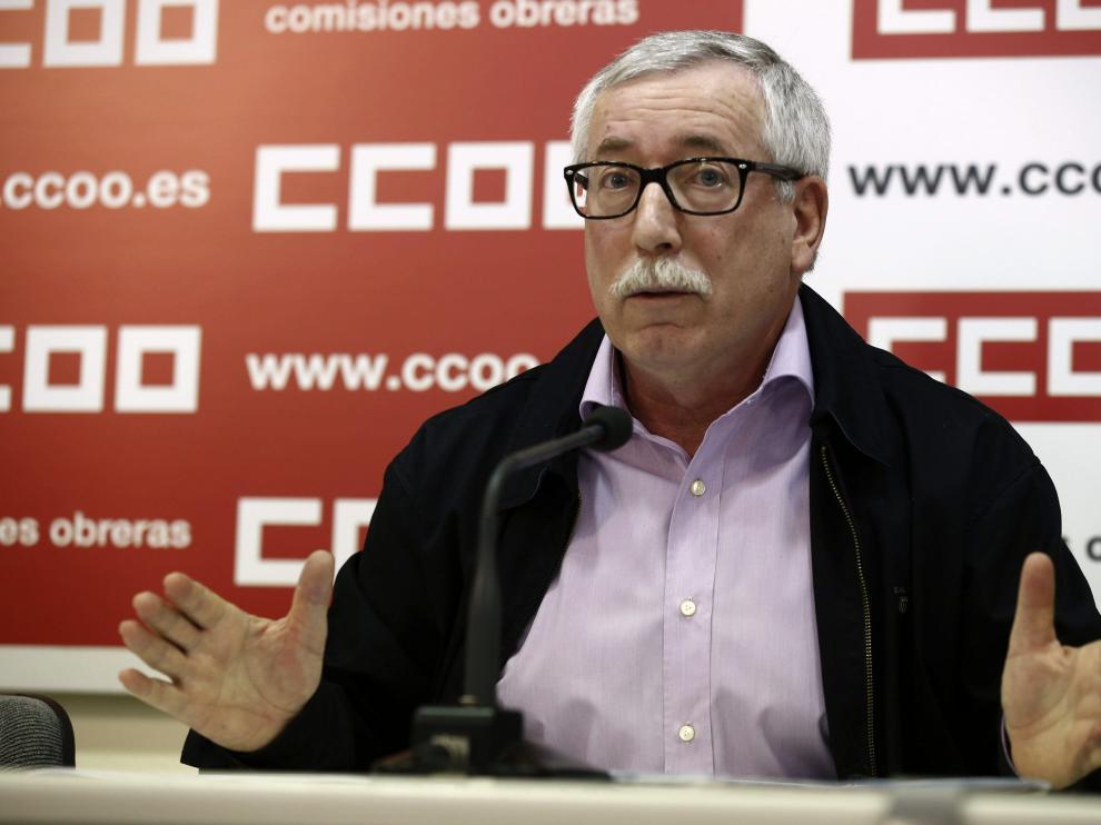 El secretario general de CC.OO., Ignacio Fernández Toxo, durante la rueda de prensa