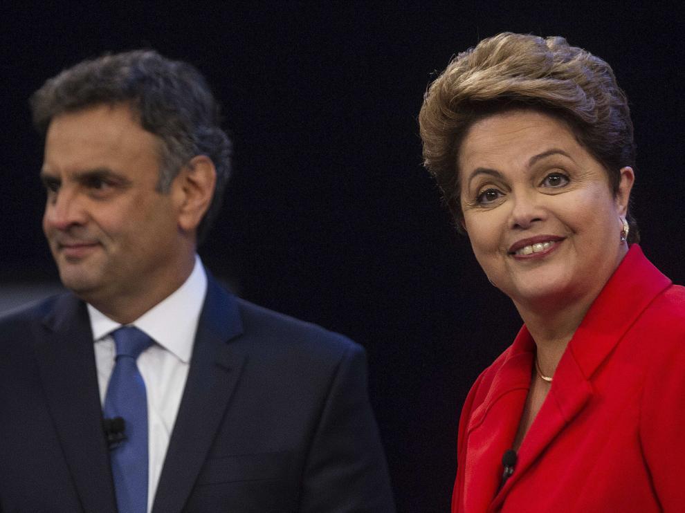 Los candidatos Aécio Neves y Dilma Rousseff
