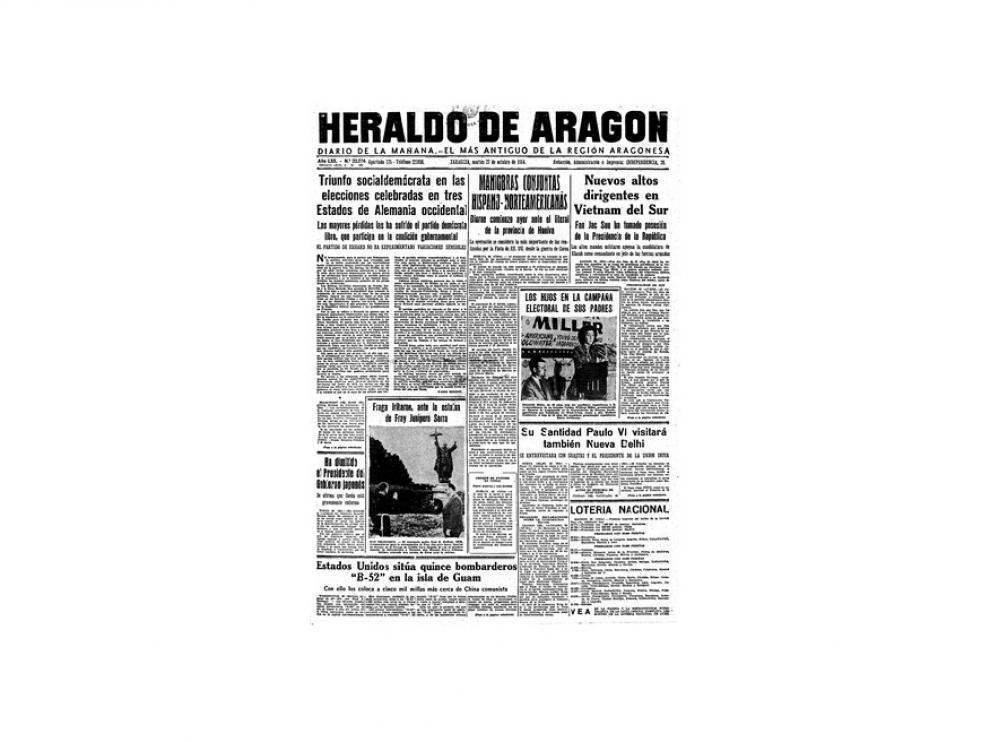 Portada de HERALDO el día 27 de octubre de 1964