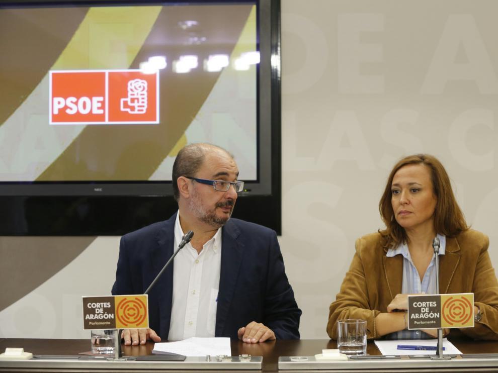 Javier Lambán y Mayte Pérez en presentaron la comisión para alcanzar un pacto de educación