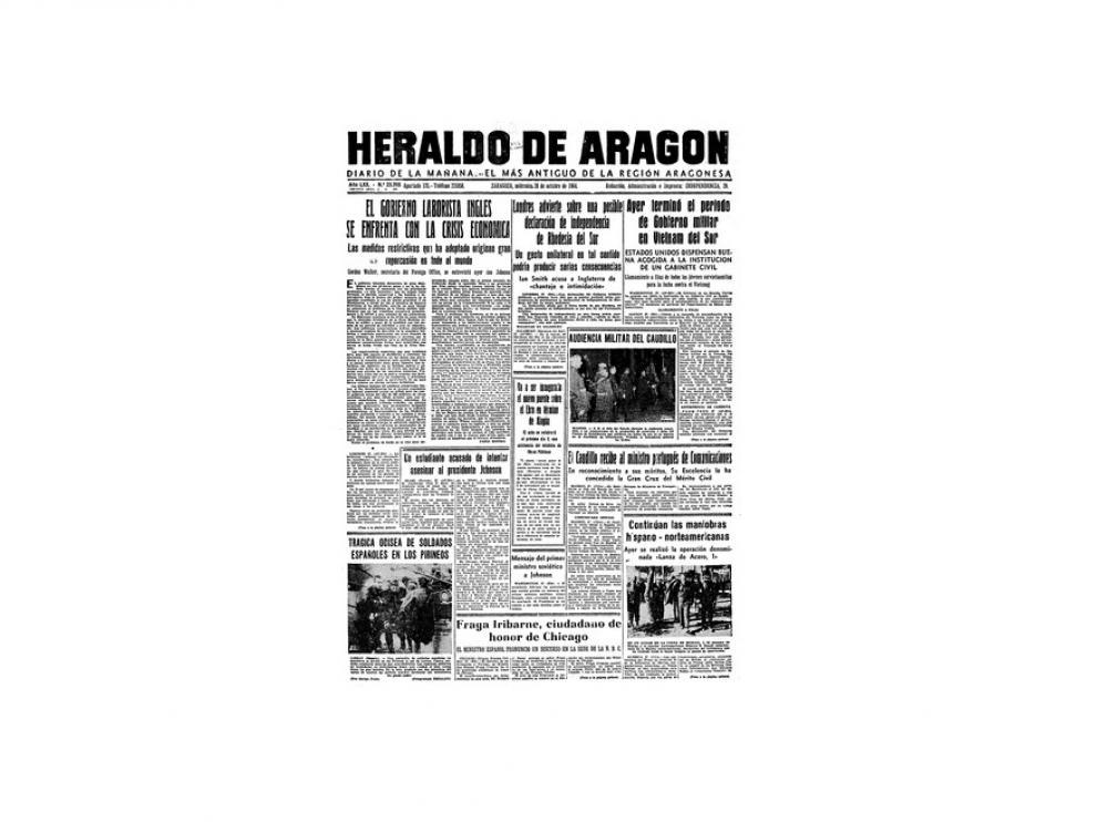 Portada de HERALDO el día 28 de octubre de 1964
