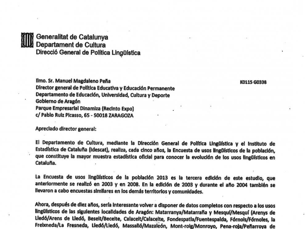 La carta que fue enviada por la Generalitat a la DGA.