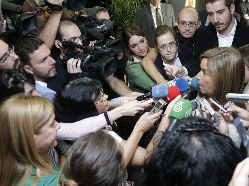 Ana Mato, ministra de Sanidad, en la asamblea de Farmaindustria este martes