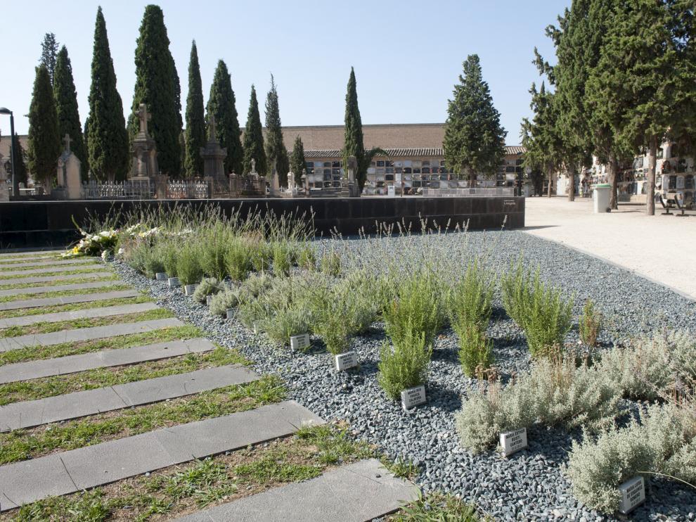 Jardín de cenizas del cementerio de Torrero.