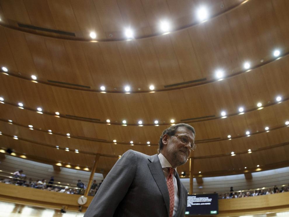 Mariano Rajoy a su llegada a la sesión de control en el Senado