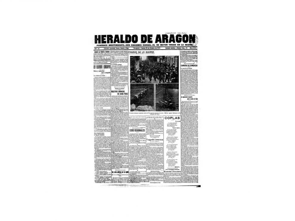 Portada de HERALDO el día 29 de octubre de 1914