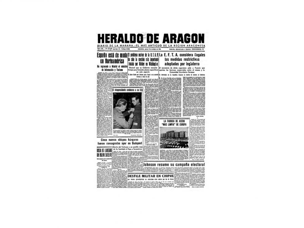 Portada de HERALDO el día 29 de octubre de 1964
