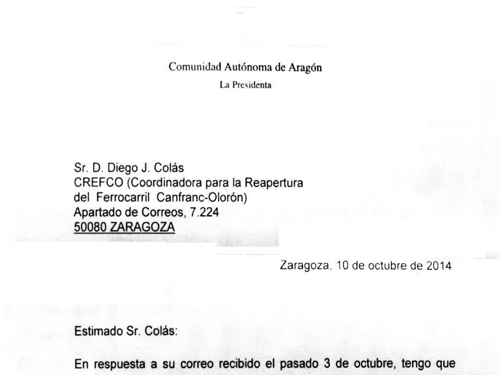 Una carta de la presidenta aragonesa a Crefco.