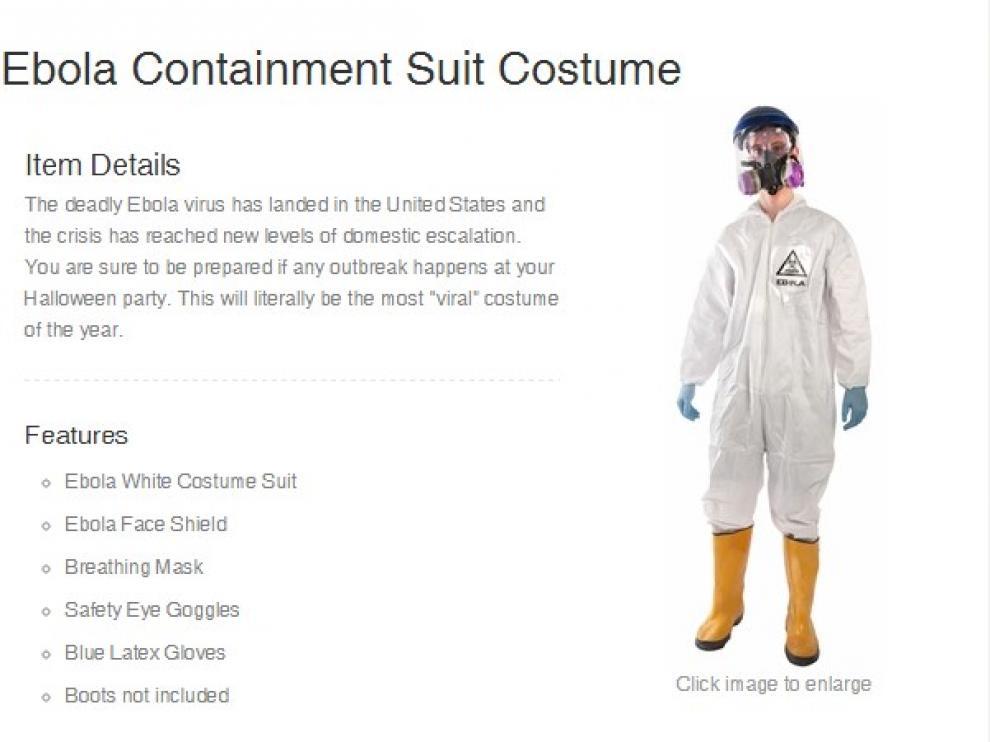 Disfraz de ébola de una web estadounidense