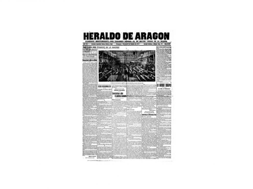 Portada de HERALDO el día 30 de octubre de 1914