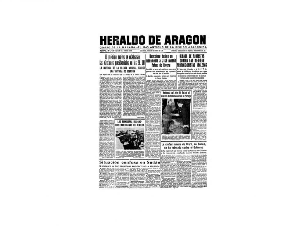 Portada de HERALDO el día 30 de octubre de 1964