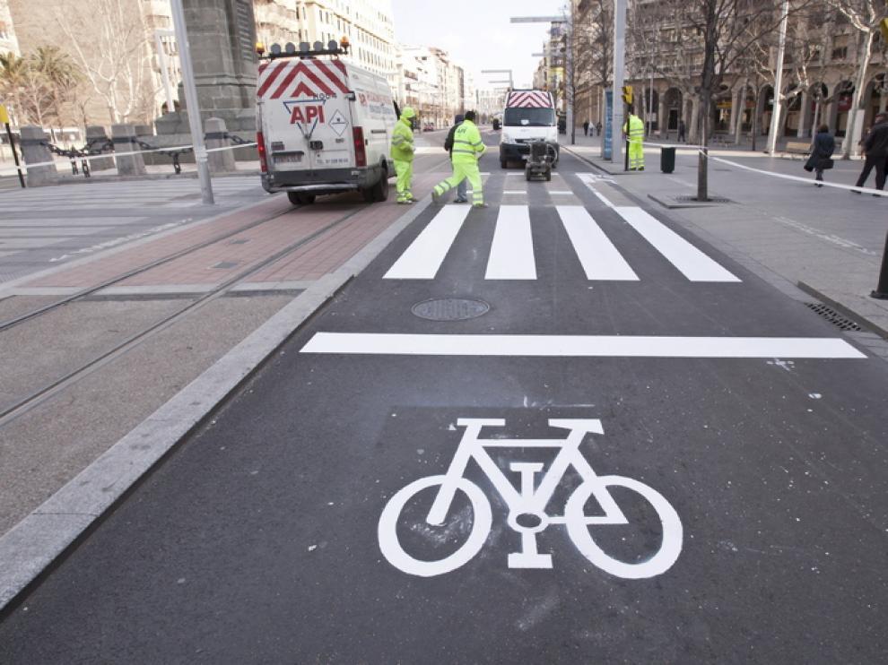 Las zonas de espera para bicicletas volverán tras ser borradas