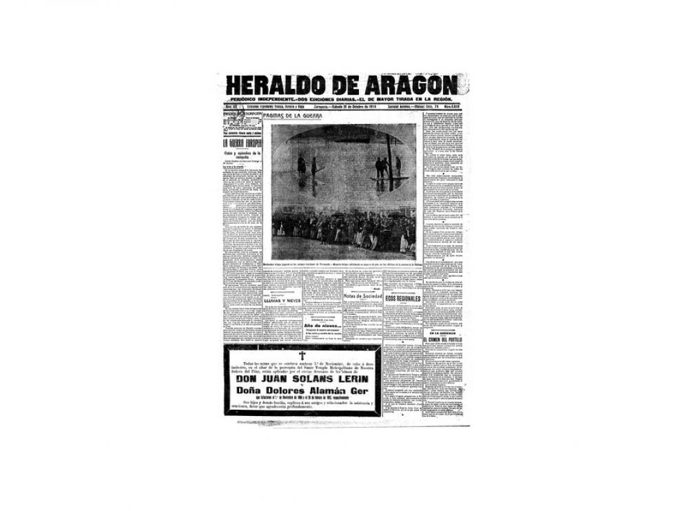 Portada de HERALDO el día 31 de octubre de 1914