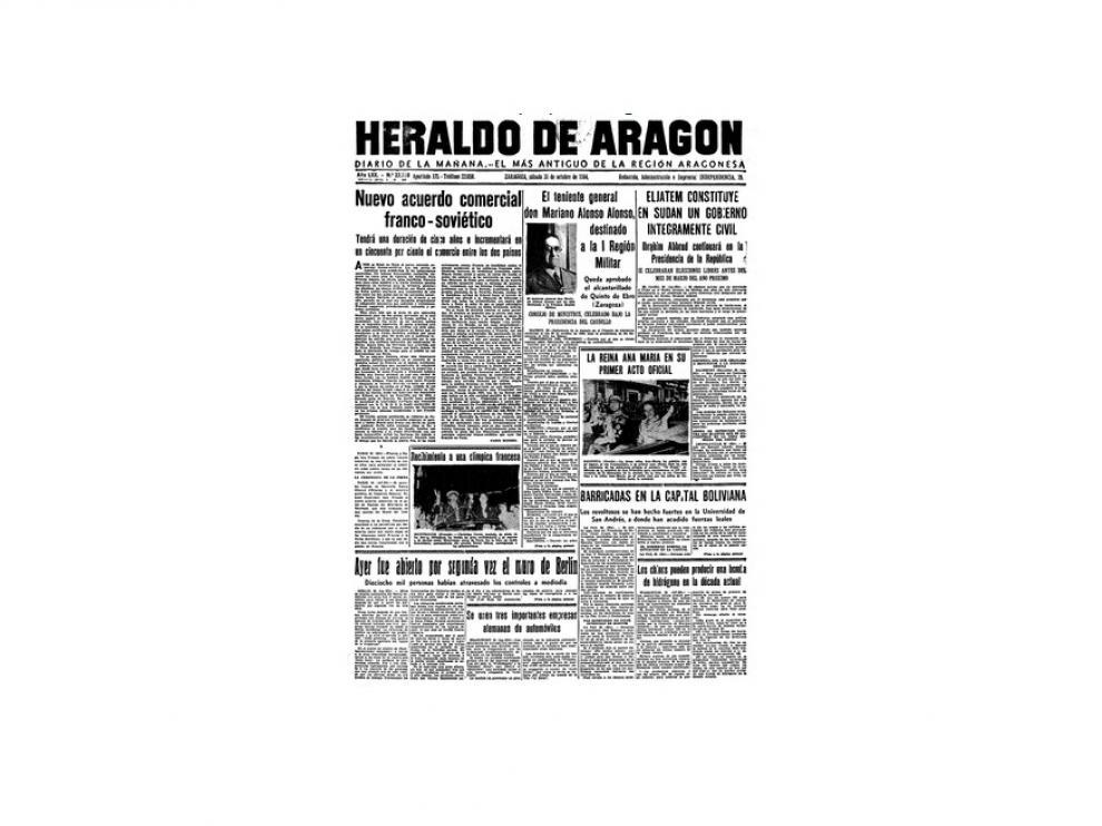 Portada de HERALDO el día 31 de octubre de 1964