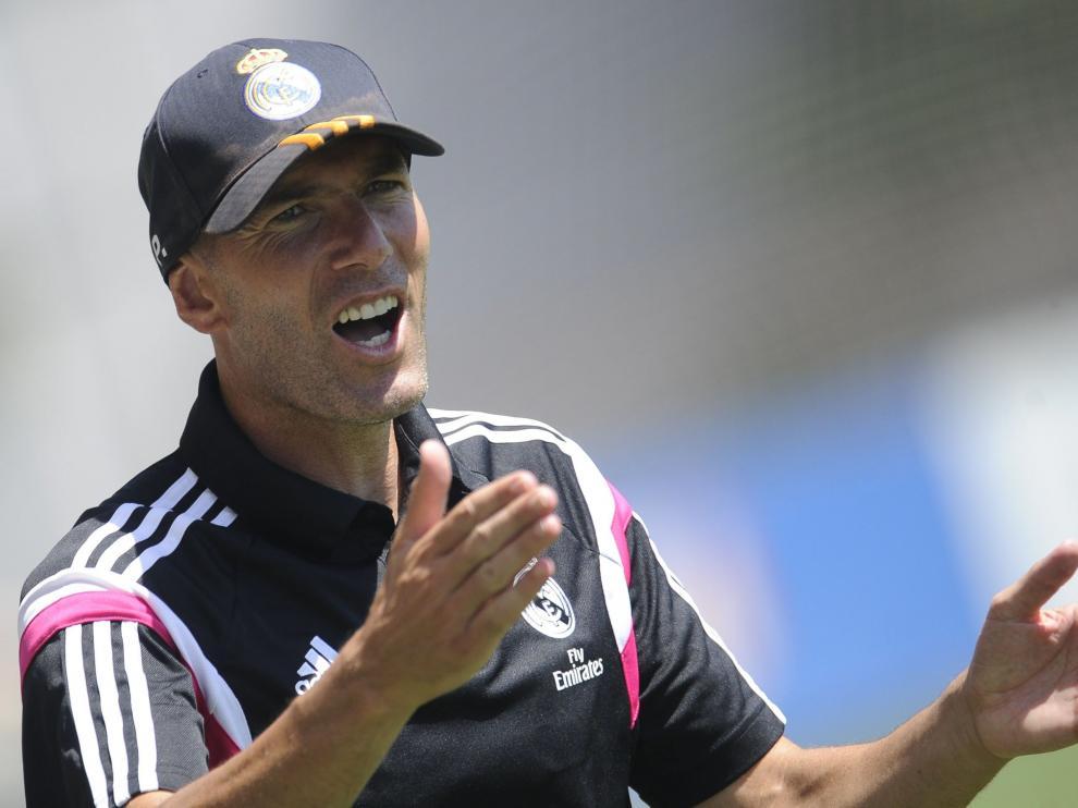 Zidane, durante un entrenamiento con el Castilla