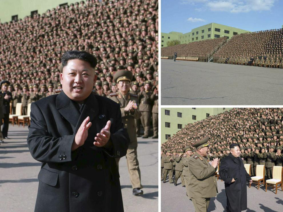 Kim Jong Un en los actos de este miércoles, ya sin bastón