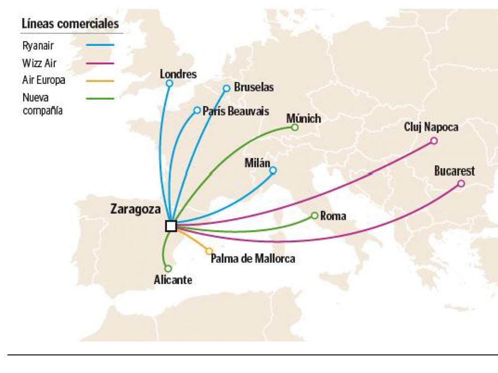 Una aerolínea aragonesa ofertará vuelos a Roma, Múnich y Alicante desde Semana Santa