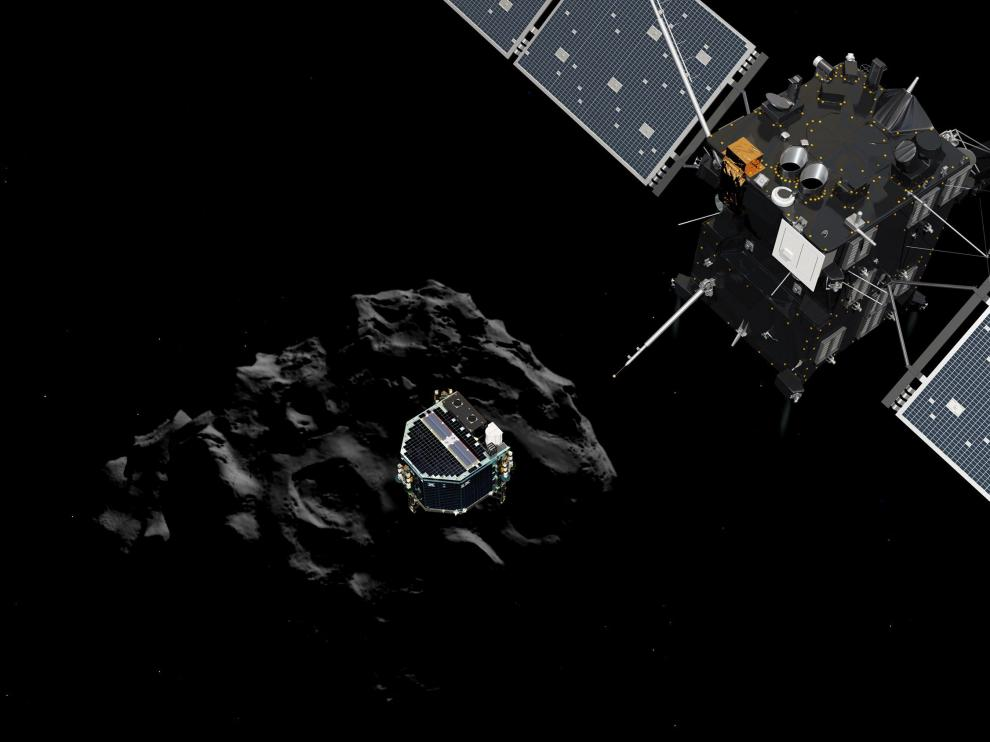 Recreación del módulo Philae abandonando Rosetta