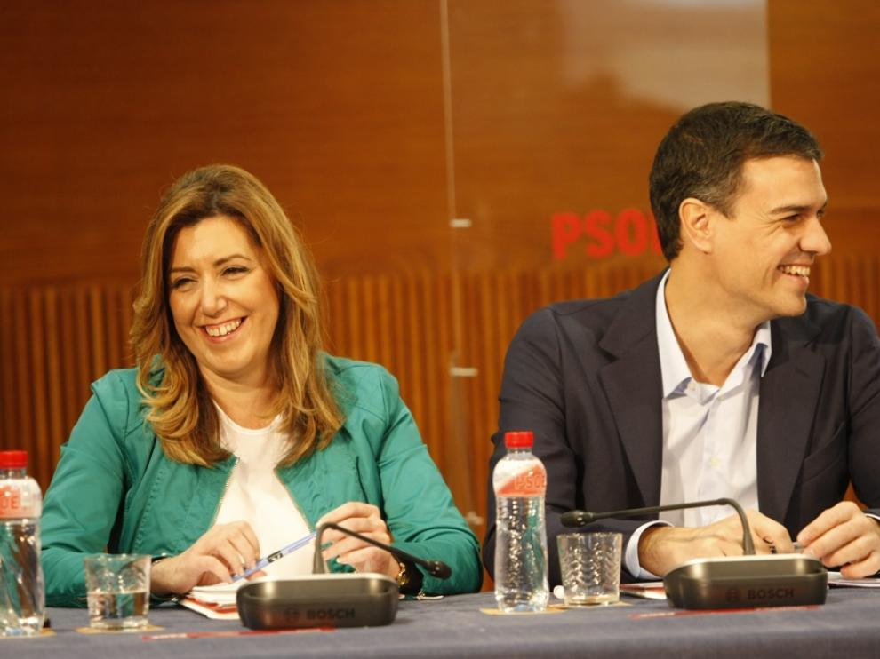 Susana Díaz, junto a Pedro Sánchez en la Aljafería