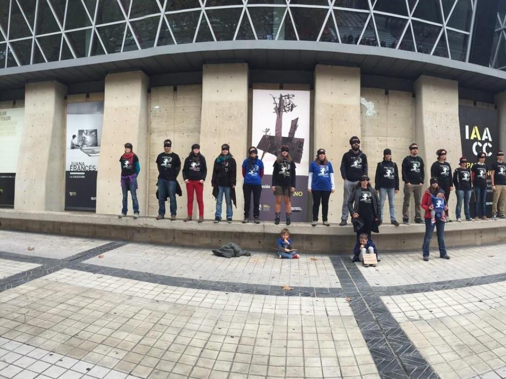 Los trabajadores del COA II en una de sus protestas